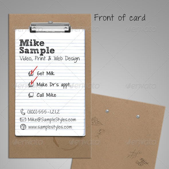 To Do List Clipboard Business Card