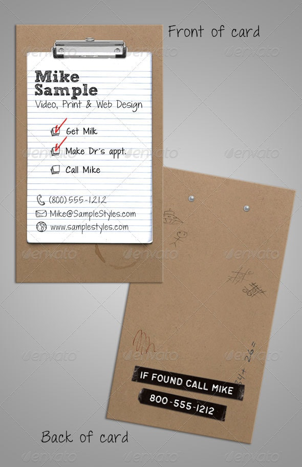 To Do List Clipboard Business Card - Creative Business Cards