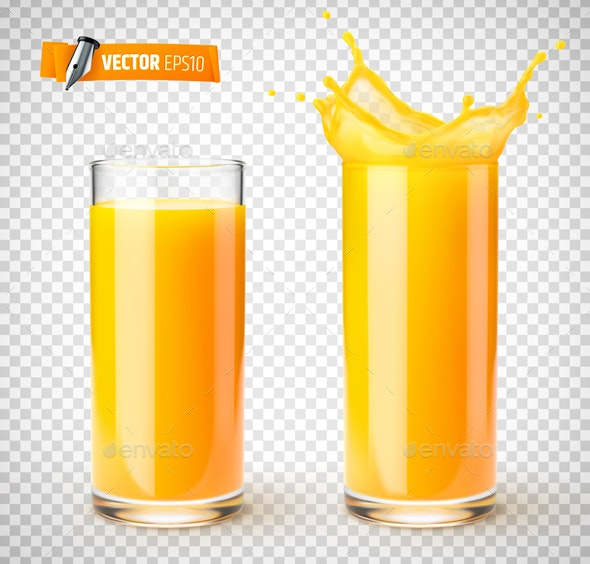 Vector Realistic Glasses of Fruit Juice - Food Objects