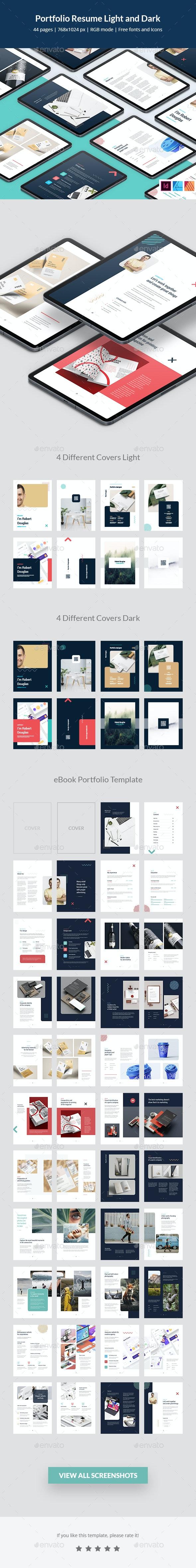 Portfolio Resume Light and Dark eBook - Digital Books ePublishing