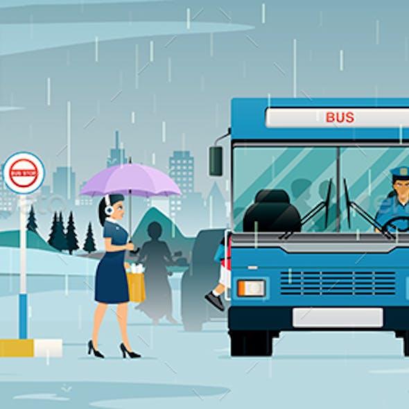 Rainy season bus stop