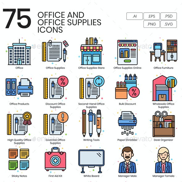 75 Office and Office Supplies Icons | Vivid Series