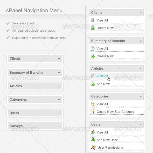 cPanel Navigation Menu