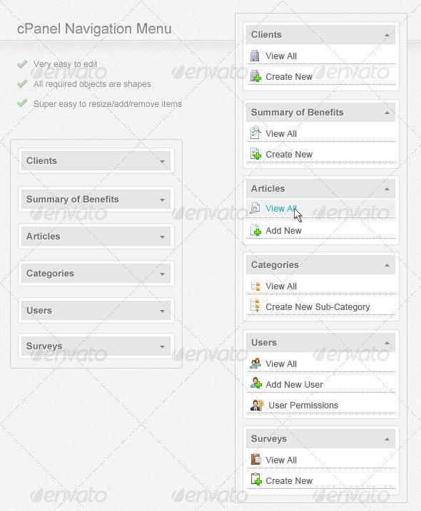 cPanel Navigation Menu - Navigation Bars Web Elements