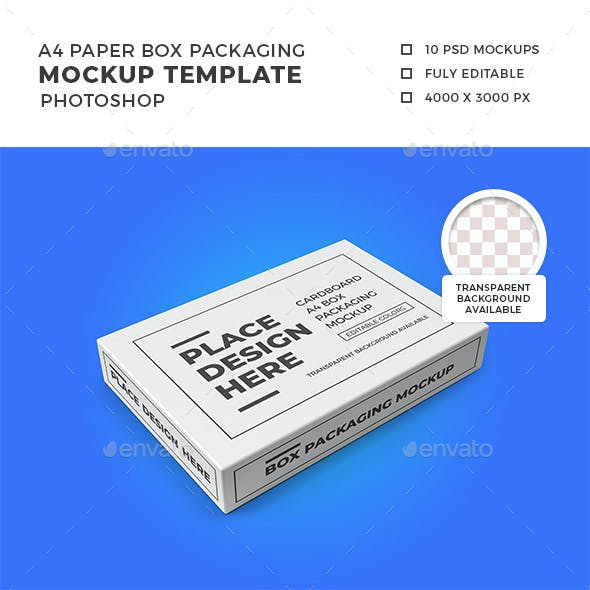 A4 Paper Box Packaging Mockup Template Set