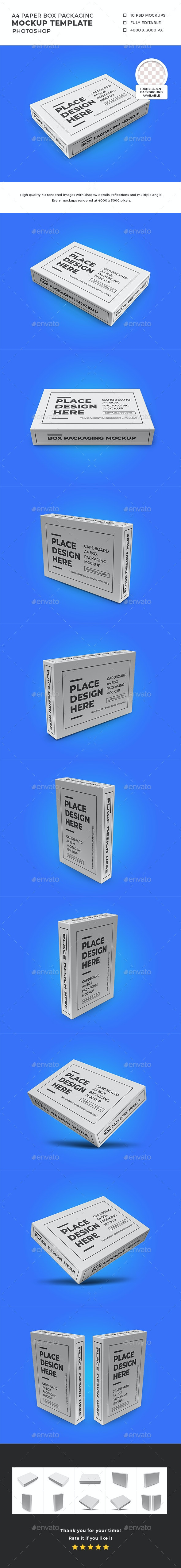 A4 Paper Box Packaging Mockup Template Set - Packaging Product Mock-Ups