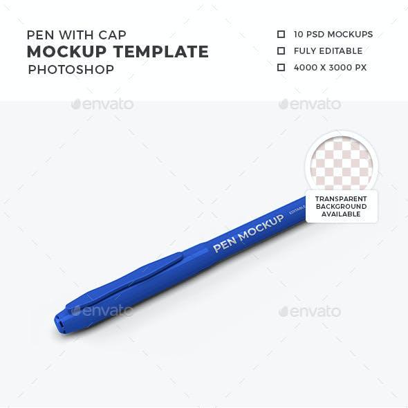 Pen with Cap Mockup Template Set