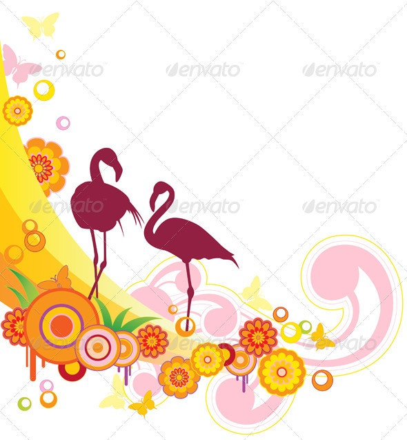 Background with Flamingo - Animals Characters