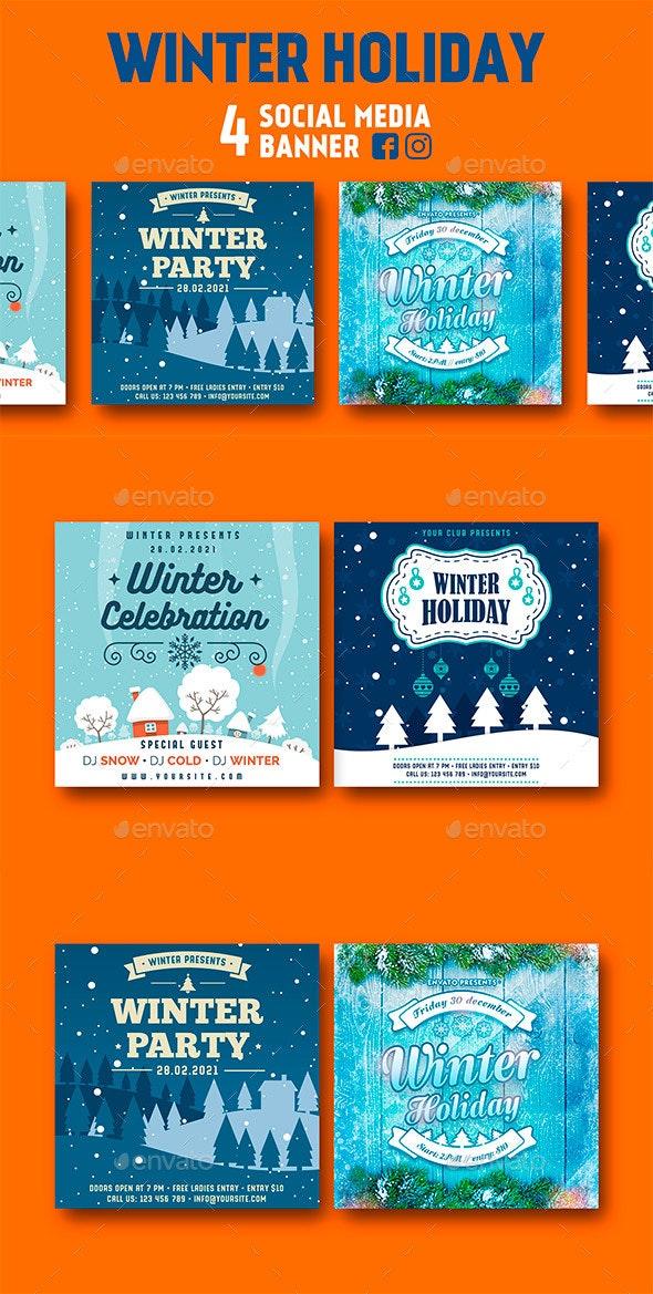 Winter Social Media Banner - Social Media Web Elements