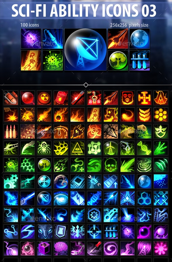 Sci-Fi Ability Icons 03 - Miscellaneous Game Assets