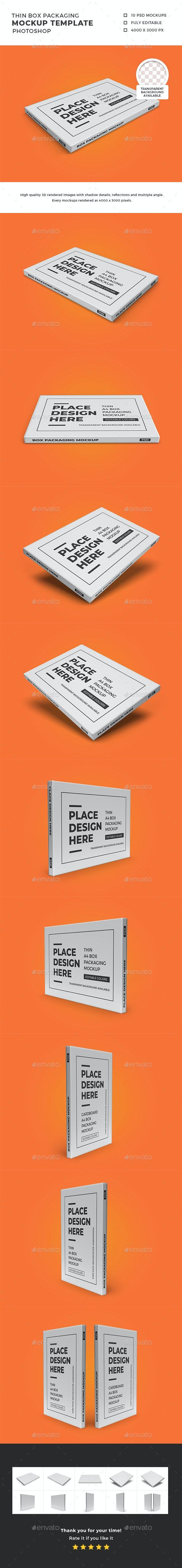 Thin Box Packaging Mockup Template Set - Packaging Product Mock-Ups