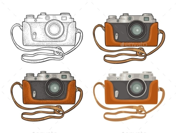 Photo Camera Icon Set - Objects Vectors