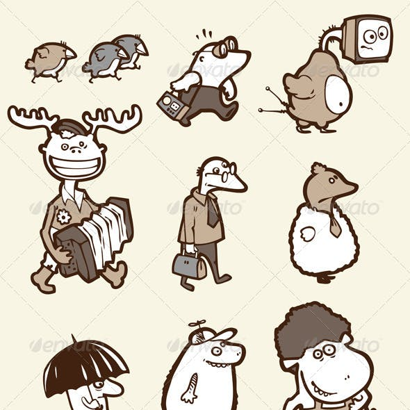 Set of the Funny Creatures