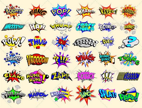 Cartoon Text Explosions - Decorative Symbols Decorative