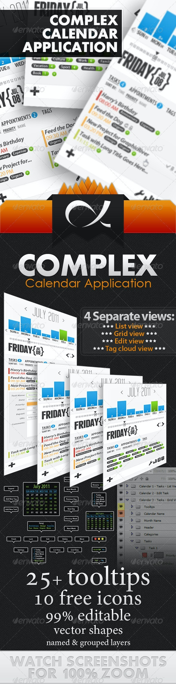 Complex Calendar Application - Miscellaneous Web Elements