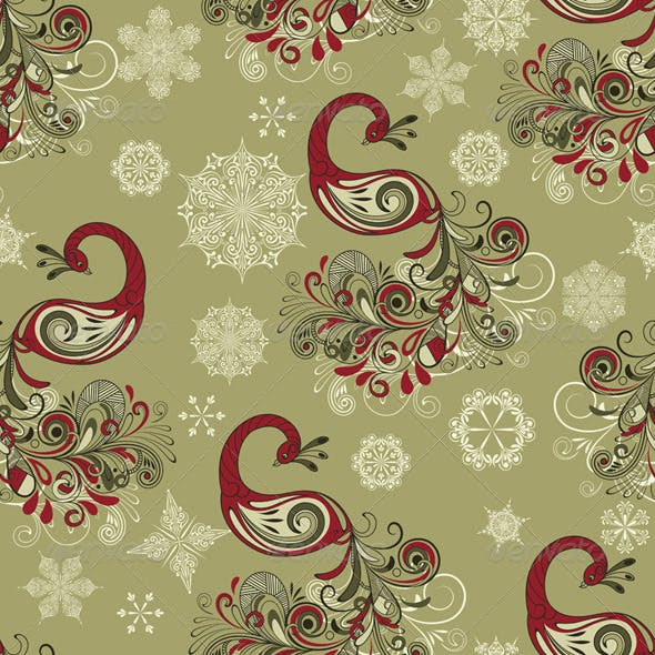 Vector Seamless Winter Pattern with Peacocks and S