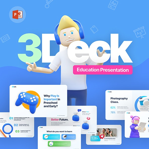 3Deck Education Creative PowerPoint Template - PowerPoint Templates Presentation Templates
