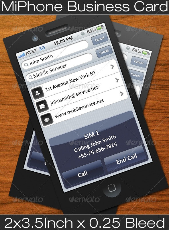 MiPhone Business Card - Real Objects Business Cards