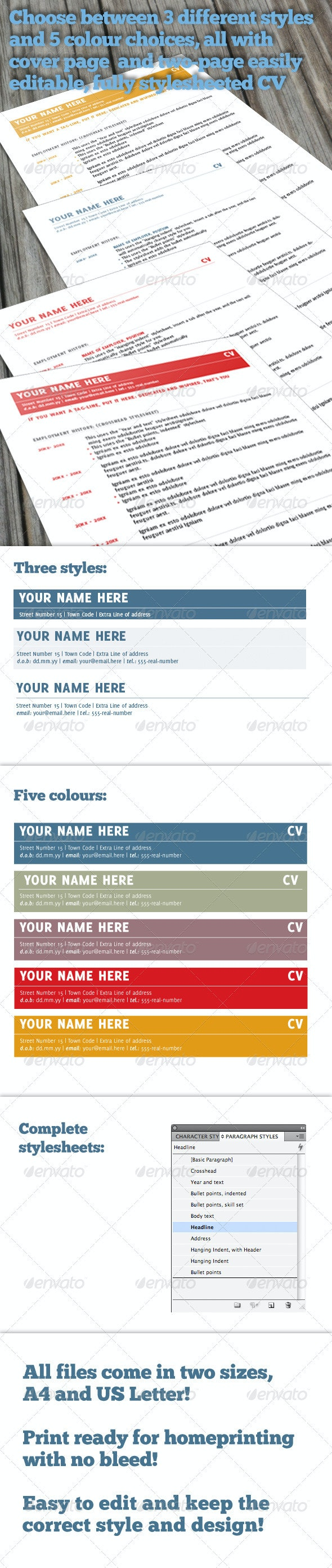 Simple and Elegant CV and Cover Letter - Resumes Stationery