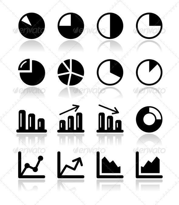 Chart graph black icons set for infographic - Web Elements Vectors