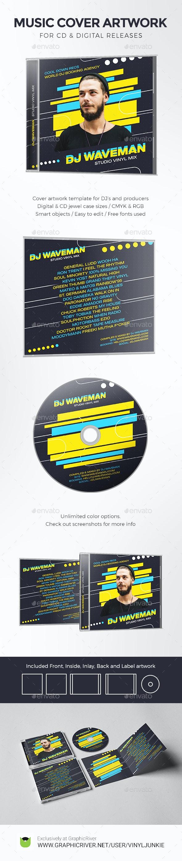 DJ Music Cover Artwork Template for CD / Digital Releases - CD & DVD Artwork Print Templates