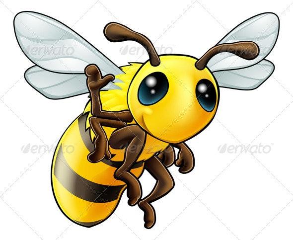 Happy waving cartoon bee - Animals Characters