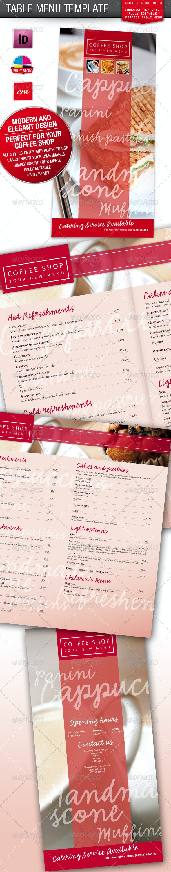 Cafe, Coffee Shop / Restaurant Menu - Food Menus Print Templates