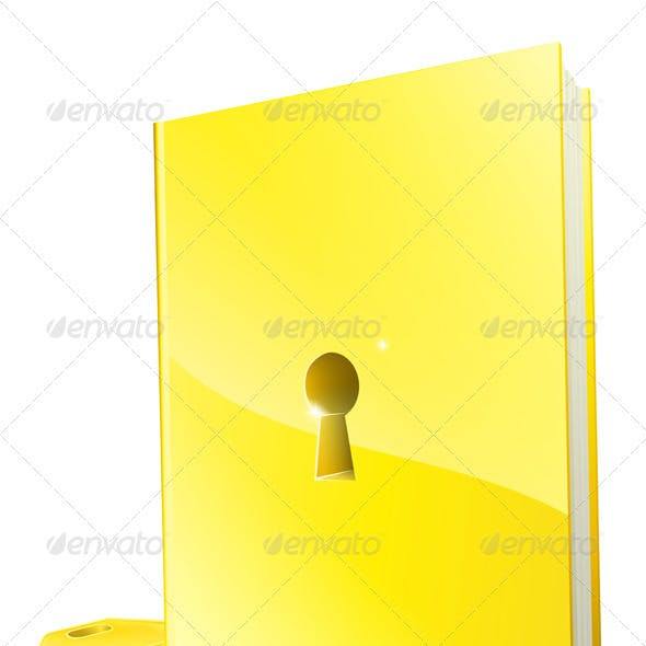 Golden locked book and key