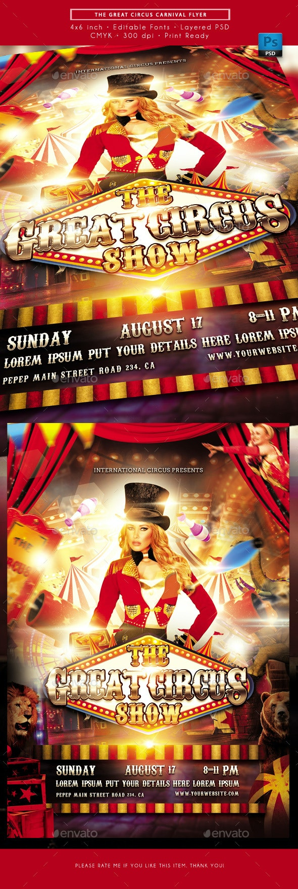 The Great Circus Carnival Flyer - Miscellaneous Events