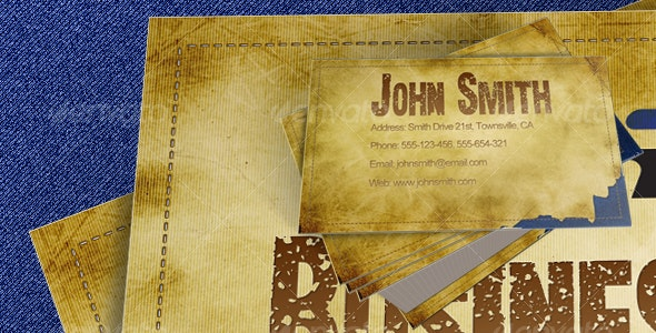 Distressed Jeans Label Business Card - Grunge Business Cards