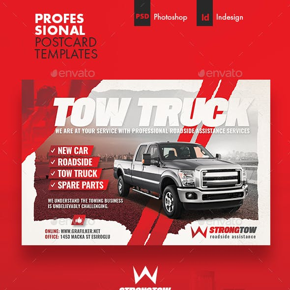 Tow Truck Postcard Templates
