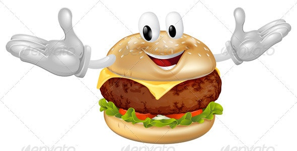 Burger Mascot Man - Food Objects