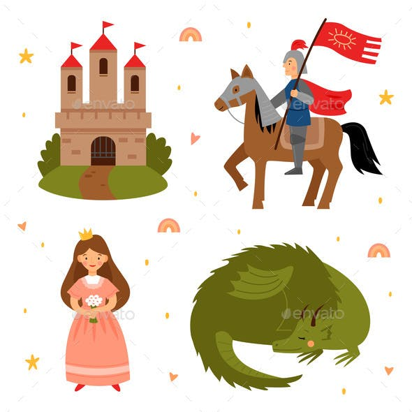 Vector Set of Fairy Tale Characters