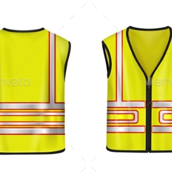 Safety Vest Front and Back View Yellow Jacket
