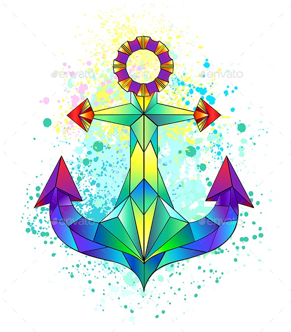 Rainbow Polygonal Anchor - Decorative Symbols Decorative