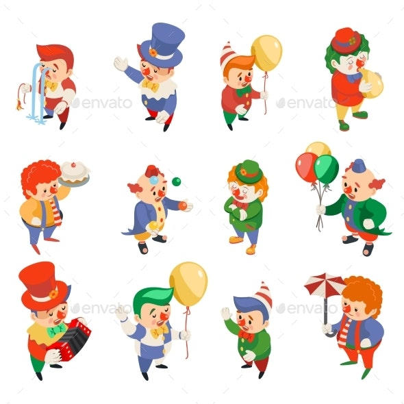 Isometric Clowns Characters Circus Party Fun - Seasons/Holidays Conceptual