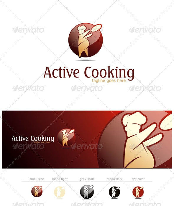 Active Cooking - Chef Logo Template - Food Logo Templates