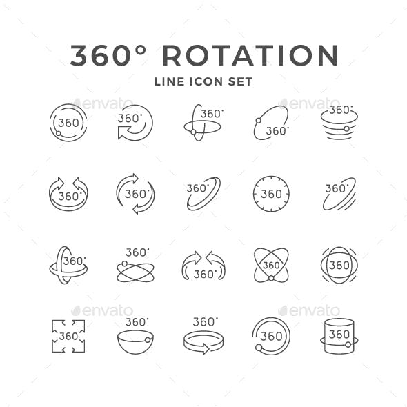 Set Line Icons of 360 Degrees Rotation