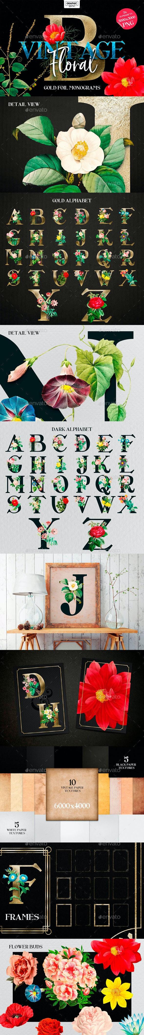 Floral Monogram Alphabet Letters - Objects Illustrations