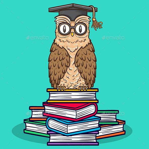 owl sitting on books illustration
