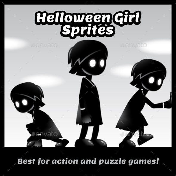Halloween Girl Game Character Sprite Sheets