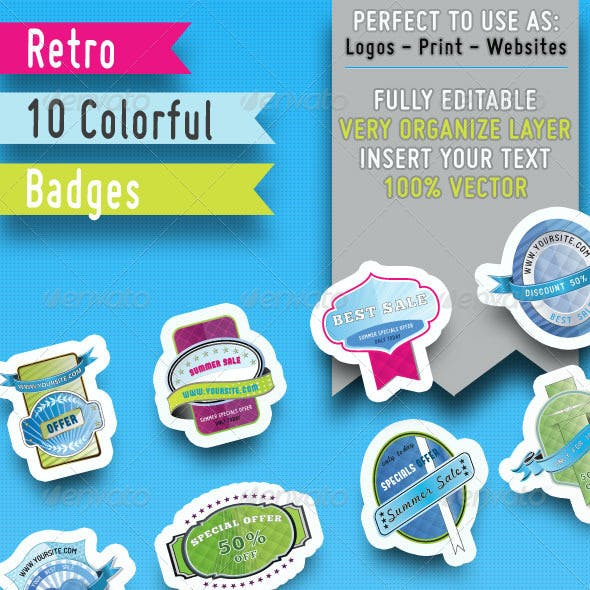 10 Retro Colorful badges