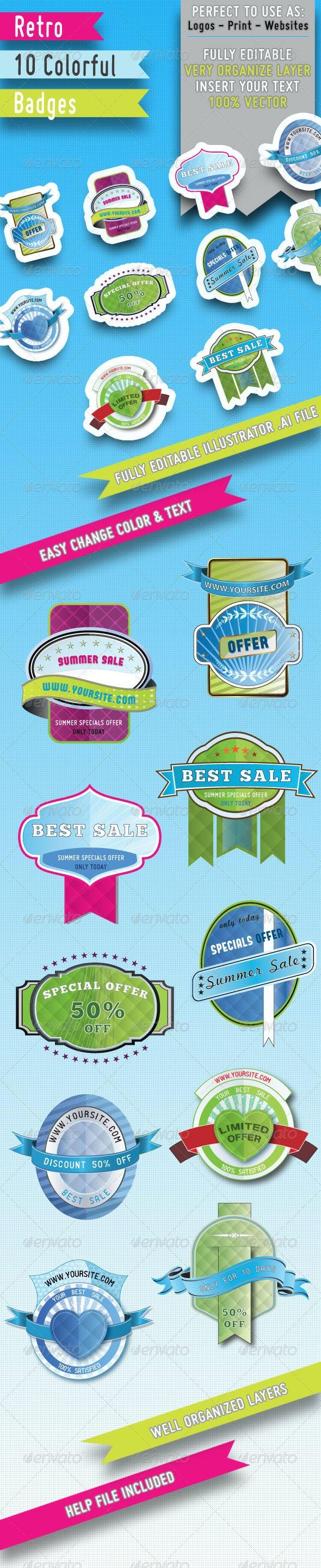 10 Retro Colorful badges - Badges & Stickers Web Elements