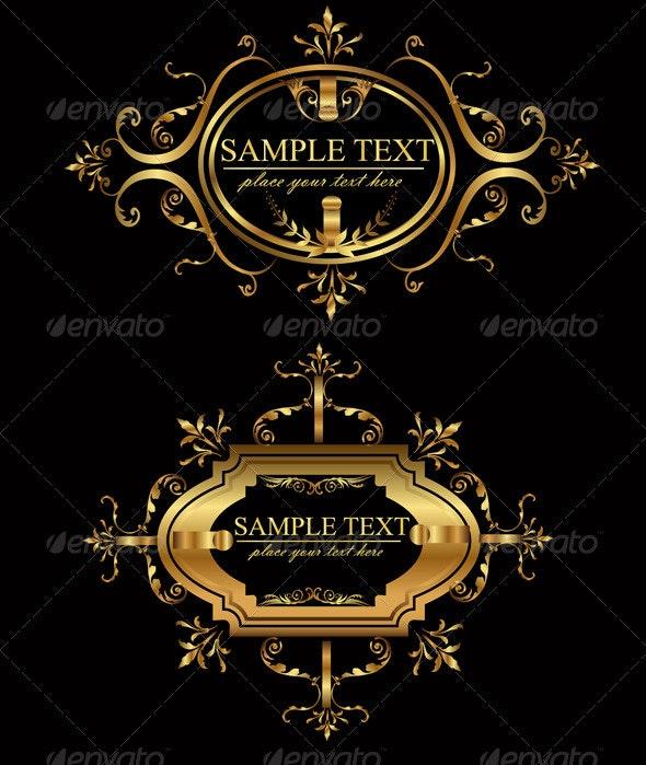 Retro Vector Gold Frames  - Flourishes / Swirls Decorative