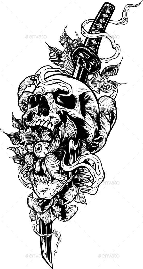 Detailed Graphic Human Skull with Katana Sword - Objects Vectors