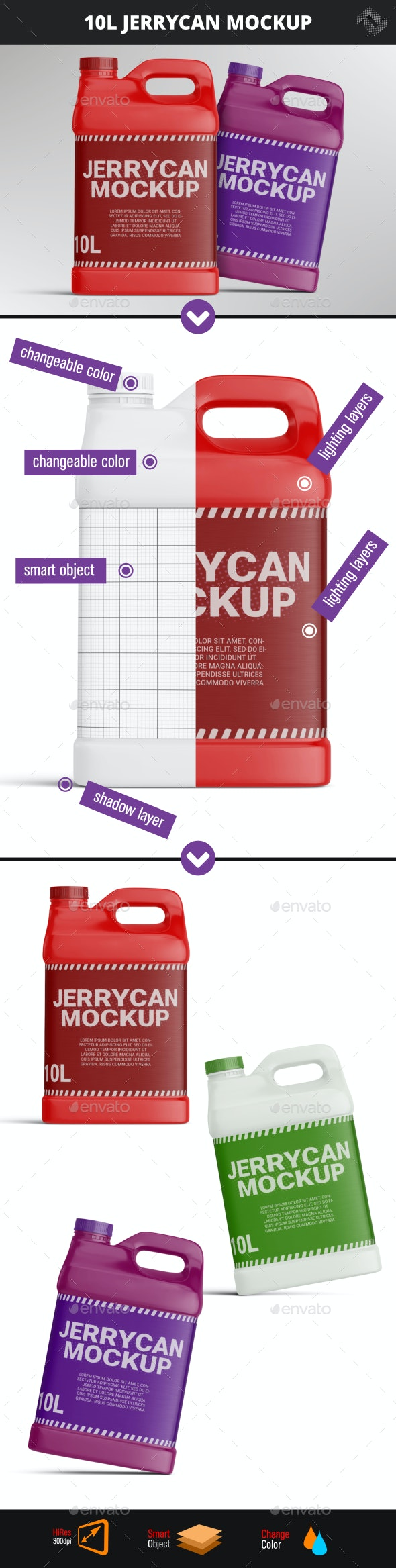 10 Liters 2.5 Gallon Plastic Jerry Can Mockup - Packaging Product Mock-Ups