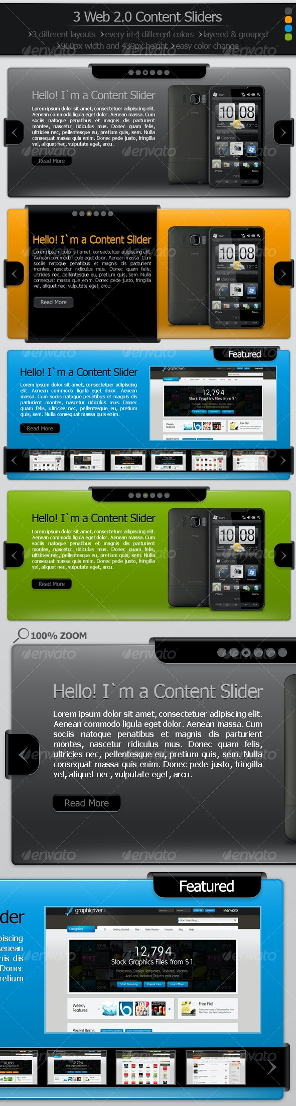 3 Web 2.0 Content Sliders - Web Elements