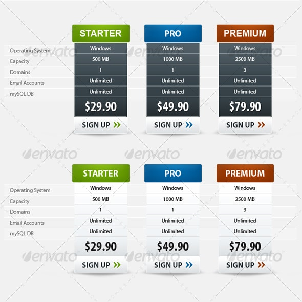 2 Style Modern Pricing Table - Web Elements