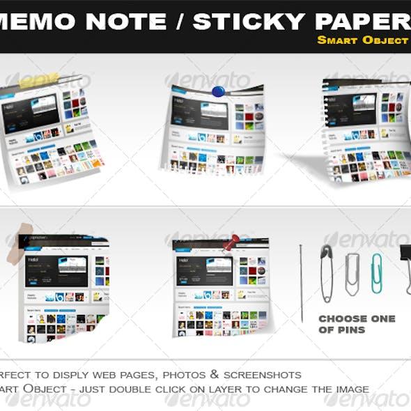 Memo Note, Sticky Paper Smart Object