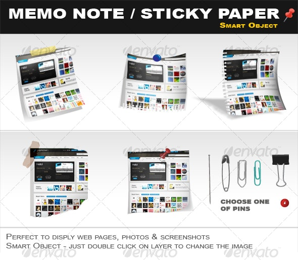 Memo Note, Sticky Paper Smart Object - Website Displays